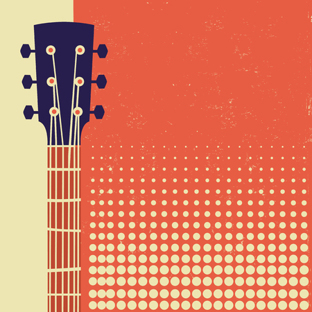 Retro Music poster background with acoustic guitar on old paper for text Çizim