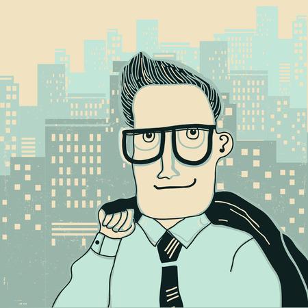 Young man portrait in megapolis city background.Vector cartoon illustration of  landscape  イラスト・ベクター素材