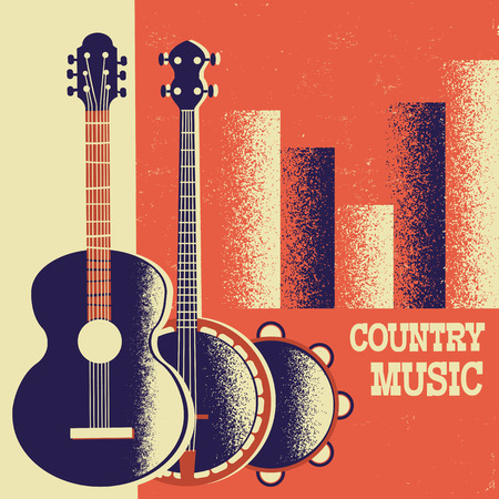 Country Music poster background with musical instruments on retro paper for text and decor