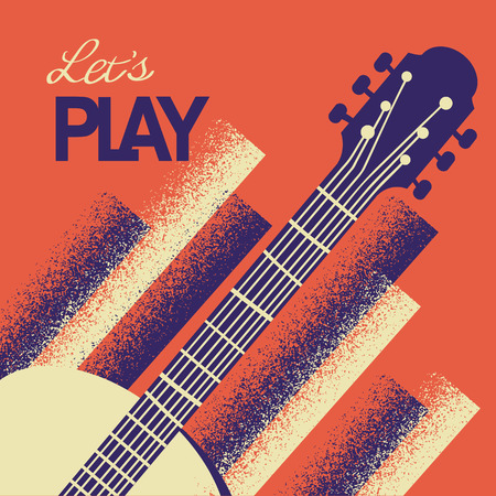 Music concert background with acoustic guitar instrument with text
