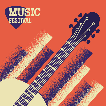 Music concert background with acoustic guitar instrument with text.Vector fectival music illustration