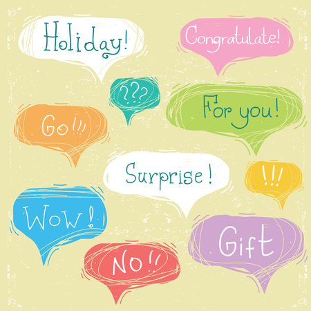 Set of color speech bubbles with text on old scratched paper Ilustrace