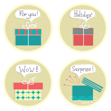 Gift boxes .Vector set color presents with text and bubbles isolated on white