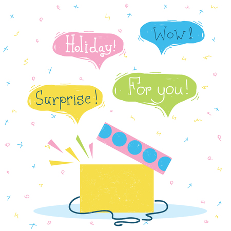 Gift box with surprise.Vector color holiday card with text on bubbles