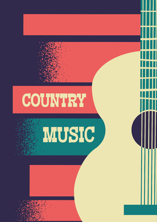 Country Music background with musical instrument acoustic guitar and text.Vector music poster festival illustration