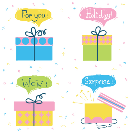 Gift boxes .Vector set of color presents with text isolated on white