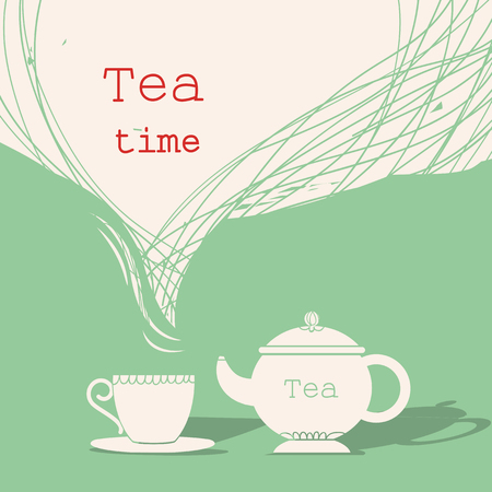 Time for tea.Cup of tea and teapot silhouette illustration for text isolated on white Ilustrace