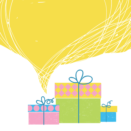 Gift boxes with ribbons and big yellow bubble background for text isolated on white Ilustrace