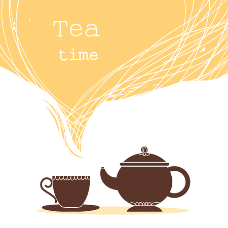 Time for tea.Cup of tea and teapot illustration for text isolated on white Ilustrace