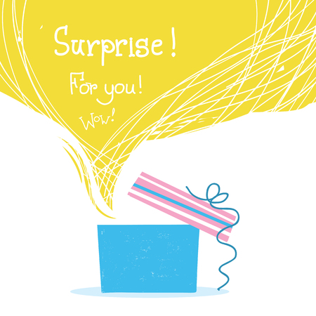 Gift box with ribbons and big yellow bubble background for text isolated on white