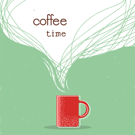 Coffee time poster.Cup of coffee illustration with space for text Ilustrace