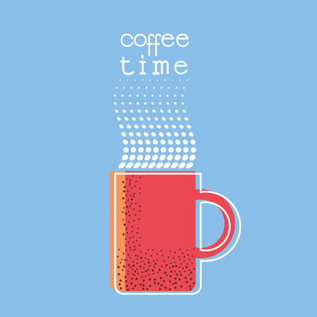 Coffee time poster with text.Cup of coffee color illustration background Ilustrace