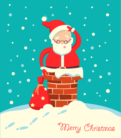 Santa Claus stuck in the chimney in the Christmas winter night. Merry christmas card