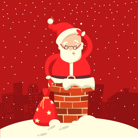 Santa Claus stuck in the chimney in the Christmas night. Merry christmas red comic card