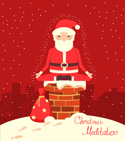 Santa Claus meditation on the chimney in the Christmas night. Merry christmas red christmas yoga card