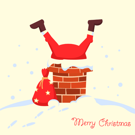 Santa Claus stuck in the chimney in the Christmas night. Merry christmas comic card Ilustrace