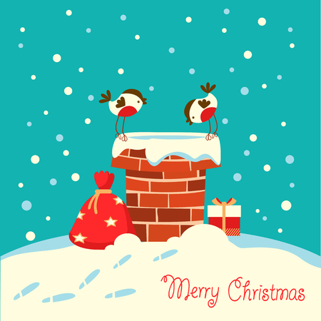 Christmas card with bullfinch birds sitting on the chimney and looking on Santa Claus and gifts
