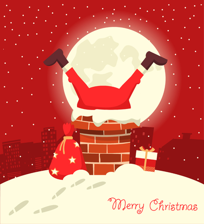 Santa Claus stuck in the chimney in the Christmas moon night. Merry christmas red comic card Ilustrace