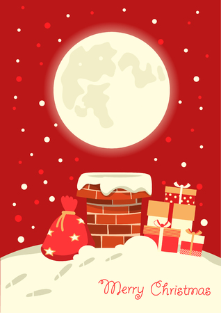 Santa Claus in the chimney in the Christmas winter night. Merry christmas card illustration Ilustrace
