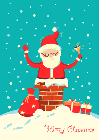 Santa Claus in the chimney in the Christmas winter night. Merry christmas card