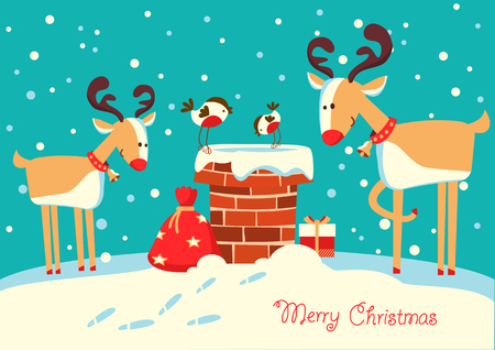 Christmas card with deers and bullfinch birds sitting on the chimney and looking on Santa Claus and gifts
