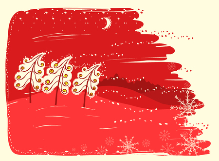 Red christmas card with trees on snow landscape background.Vector christmas illustration Ilustrace