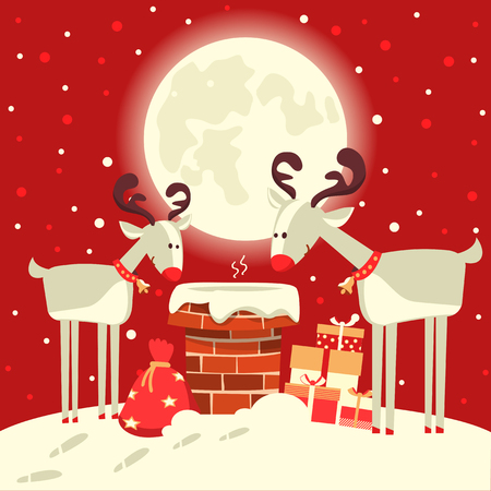 Santa Claus in the chimney with deers in the Christmas winter night. Merry christmas card illustration