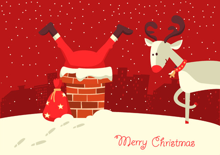 Merry Christmas card. Santa Claus stuck in the chimney in the Christmas night. Ilustrace