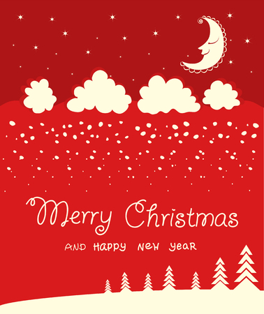 Red Merry Christmas card background on winter moon night. Vector card illustration with text