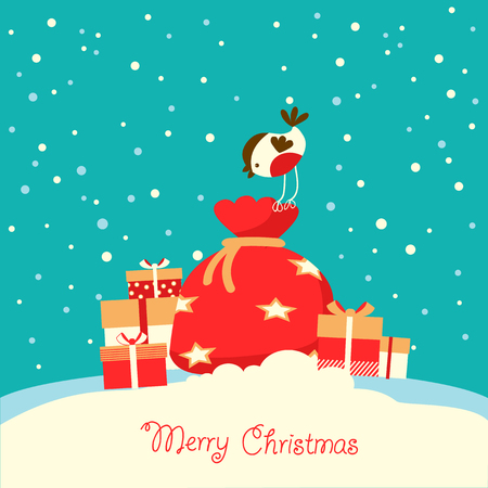 Merry Christmas card with holiday presents on snow background in winter day. Ilustrace