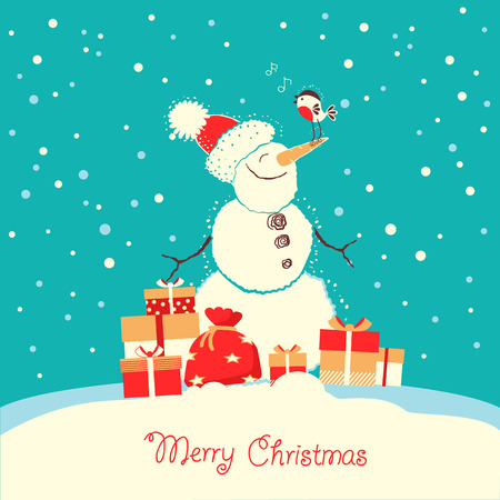 Merry Christmas card with snowman and bullfinch bird in winter day.