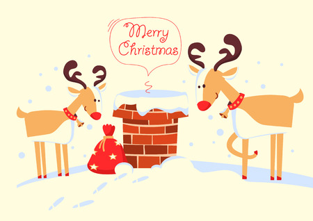 Santa Claus in the chimney and deers in the Christmas night. Merry christmas comic card with deers