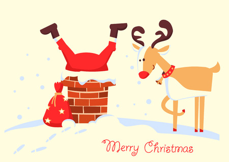 Santa Claus stuck in the chimney in the Christmas night. Merry christmas comic card with deer