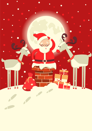 Santa Claus in the chimney with deers in the Christmas winter moon night. Merry christmas card illustration
