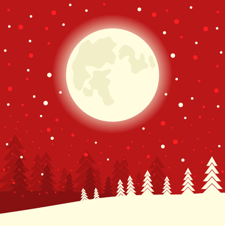 Red Merry Christmas card background on winter moon night. Vector card illustration