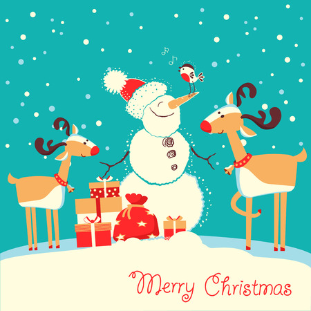 Merry Christmas card with deers and snowman listening music in winter day