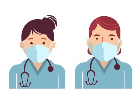 Medical workers symbol avatars. Vector doctors in masks isolated on white. Hospital staff in uniform. EPS 10 Stock Illustratie