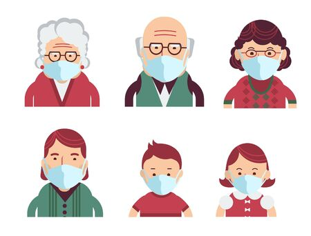 Family wearing protective Medical masks for prevent virus Covid-19. Vector avatars of people in medical masks isolated on white Stock Illustratie