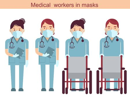Medical workers and wheelchairs. Vector doctors in masks isolated on white. Hospital staff in uniform. EPS 10 Stock Illustratie