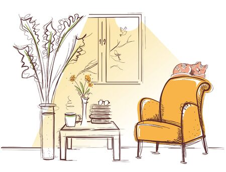Interior room with retro armchair and sleeping red cat in the morning summer day. Vector sketchy illustration