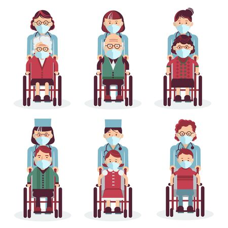 Disabled people in mask sitting in wheelchairs. Medical workers in uniform. Vector medical icons people in masks for design