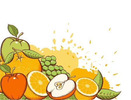 Fruits background. Fruits vector color illustration. Apples, Grapes, Orange Juice background with splash Stock Illustratie
