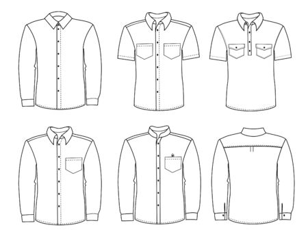 men shirts. Vector classic clothes for men isolated on white Stock Illustratie