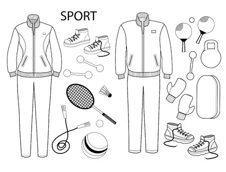 Sport clothes and sport equipments. Vector set sportlife style objects isolated on white. Stock Illustratie