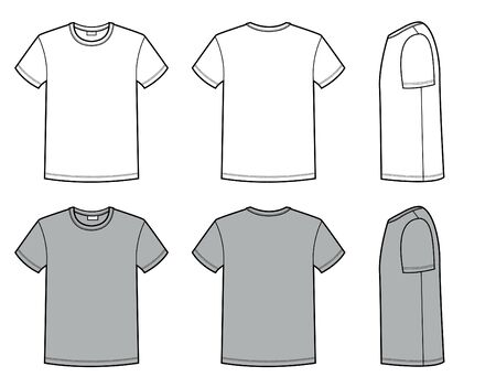Men's t shirt for Template. Vector fashion casual clothes for men flat style illustration isolated on white for design