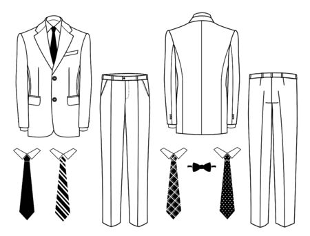 Mens suits. Vector man office suits, classic jacket and classic trousers isolated on white