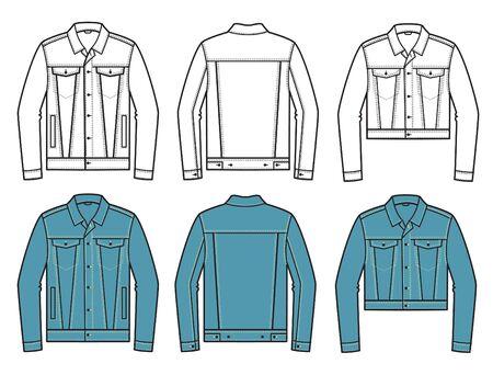 Denim Jacket. Vector set of fashion Denim Jackets clothes isolated on white for design. Stock Illustratie