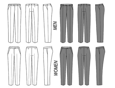 Elegant classic trousers, pants for women and men. Vector office fashion isolated on white