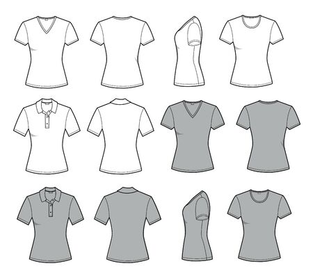 Women's t shirt for Template in front, back and side views. Vector set fashion casual clothes for men flat style illustration isolated on white for design