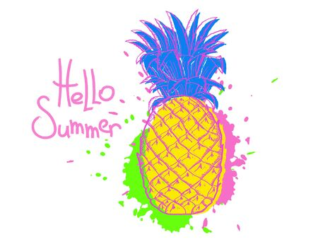 Pineapple. Hello summer. Retro multicolored color vector illustration isolated on white background